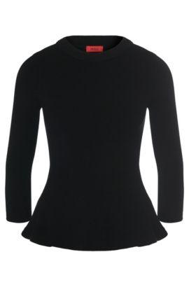 Jersey en mezcla de viscosa con detalle de peplo: 'Satinka', Negro
