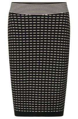 Gebreide rok van een viscosemix met streepdessin: 'Sophina', Bedrukt