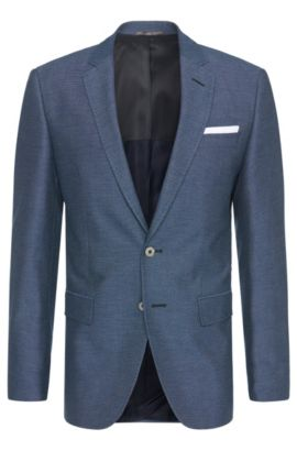 Patterned slim-fit jacket in cotton blend with integrated pocket square: 'Hutson3', Blue