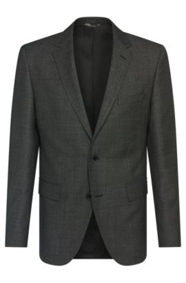 Finely textured regular-fit jacket in new wool: 'Jewels1', Dark Grey