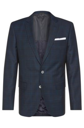 Veste de costume Slim Fit en laine vierge, dotée de boutons en nacre: «Hutson3», Bleu foncé