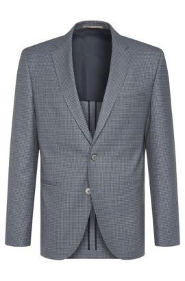 Giacca regular fit a quadri in lana vergine: 'Jedson', Turchese