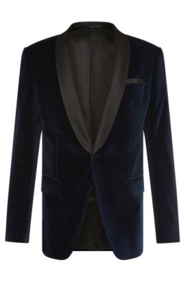 Slim-fit dinner jacket in cotton with silk detailing: 'Hockley', Open Blue