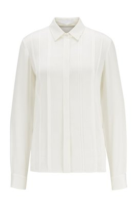 Stretch-silk blouse with pintuck pleats, White