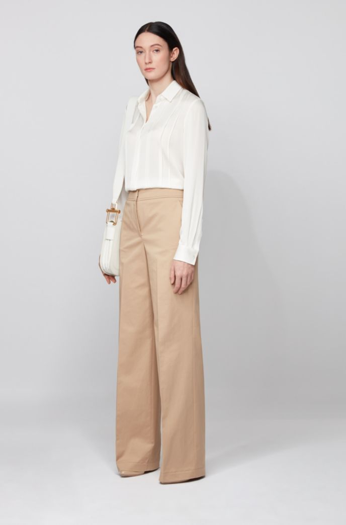 Stretch-silk blouse with pintuck pleats