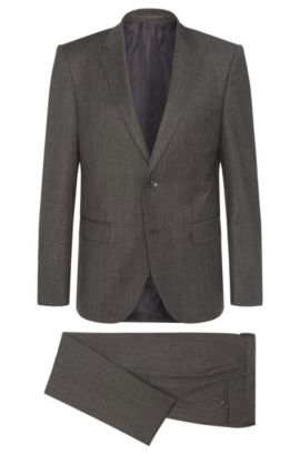Regular-fit Tailored suit in new wool: 'T-Howard4/Court5', Anthracite