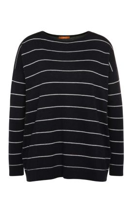 Striped relaxed-fit sweater in fabric blend with new wool and alpaca: 'Wendelly', Patterned