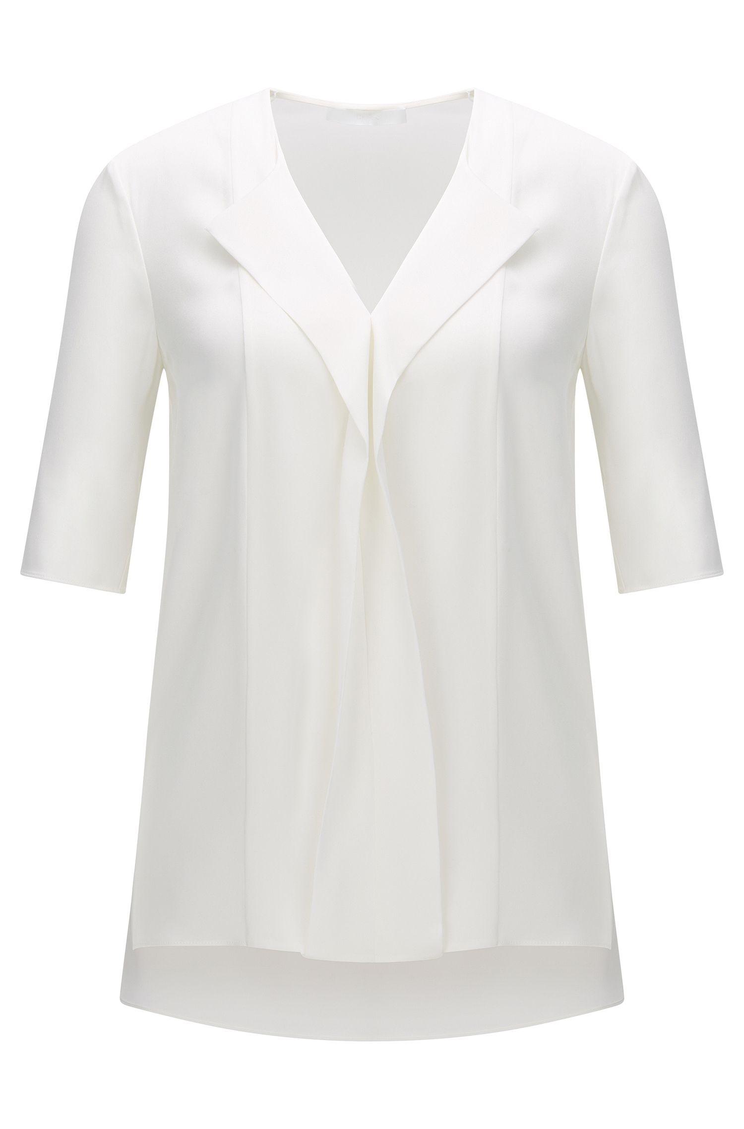 Top en seda elástica con mangas 3/4: 'Iwola'
