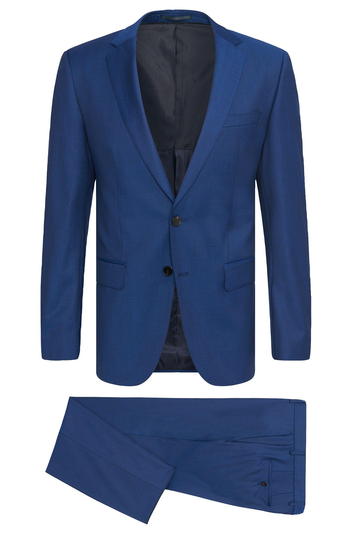 Plain slim-fit suit in new wool: 'Huge5/Genius3'