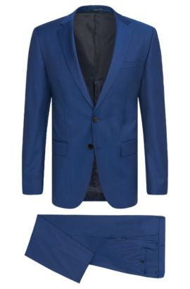 Costume Slim Fit uni en laine vierge : « Huge5/Genius3 », Bleu
