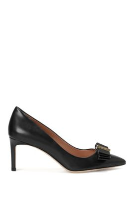 Décolleté in pelle con passante decorativo: 'Wave Pumps 70-N', Nero