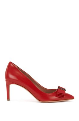 Leather pumps with decorative bow: 'Wave Pumps 70-N', Red