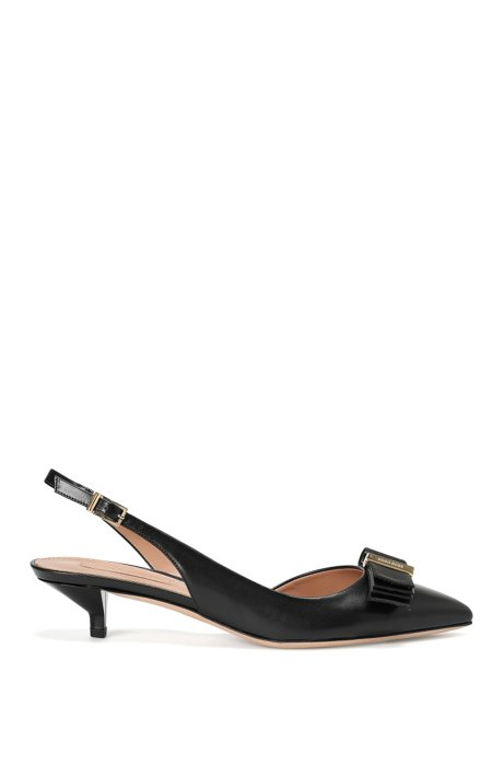 Leather slingback heels with decorative bow: 'Wave Sling 35-N', Black