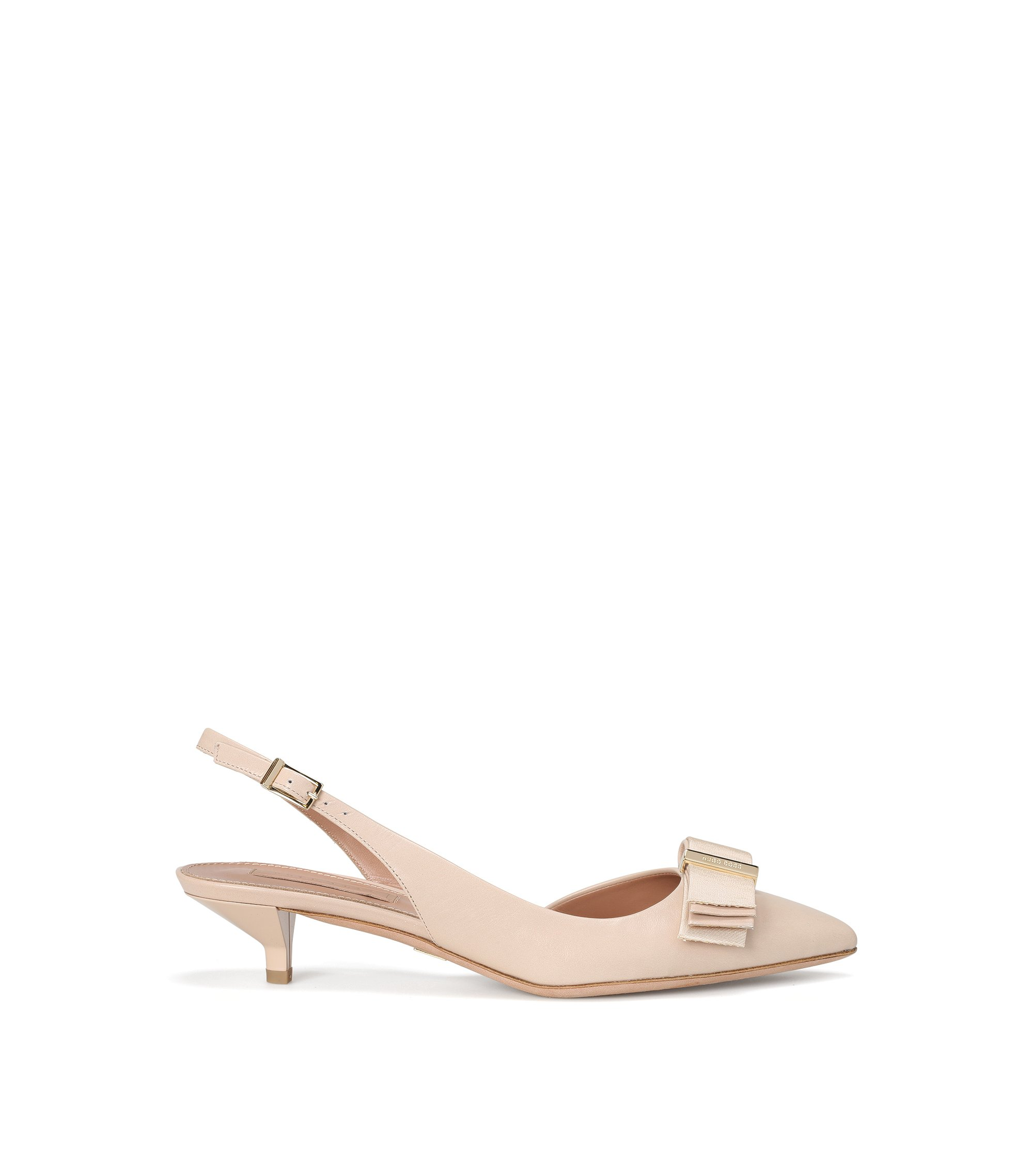 Leather slingback heels with decorative bow: 'Wave Sling 35-N', Light Beige