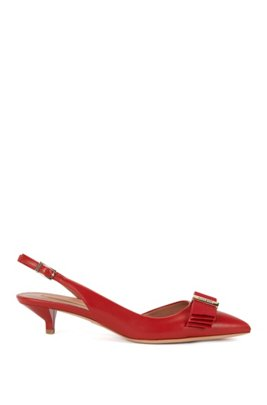 Leather slingback heels with decorative bow: 'Wave Sling 35-N', Red