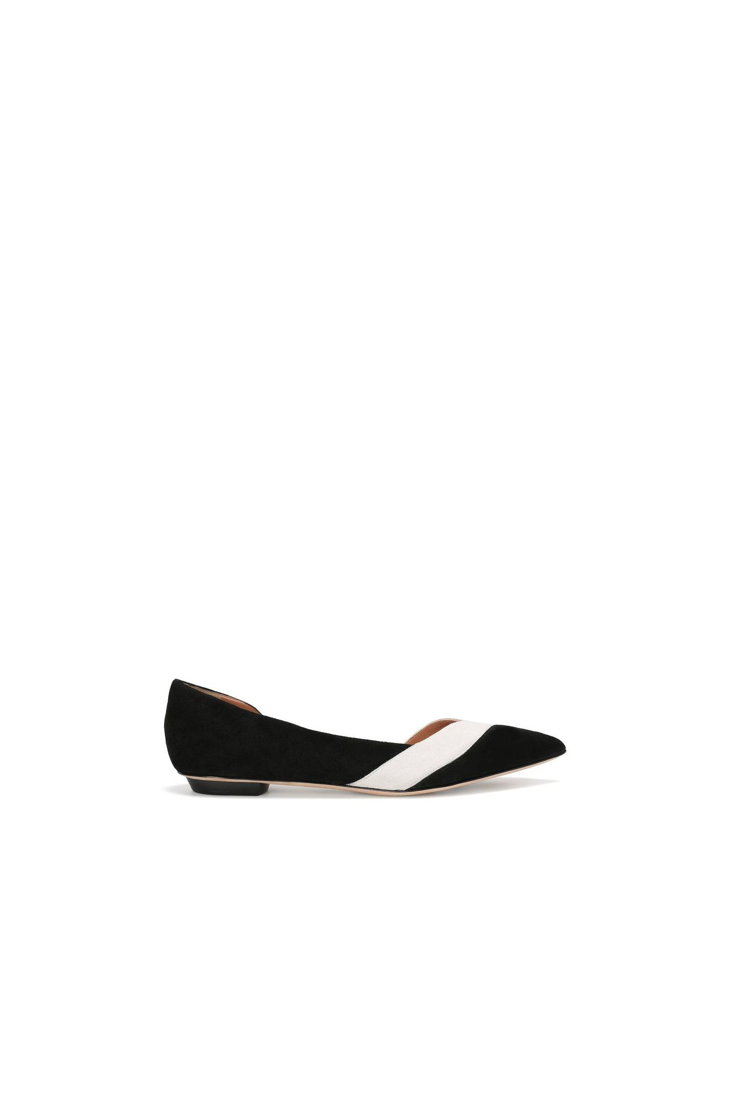 Suede flats with a low heel: 'Leaves Ballerina-S'
