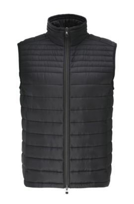 Quilted waistcoat in material blend: 'Veon 2', Black