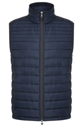 Quilted waistcoat in material blend: 'Veon 2', Dark Blue