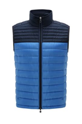Quilted waistcoat in material blend: 'Veon 2', Blue