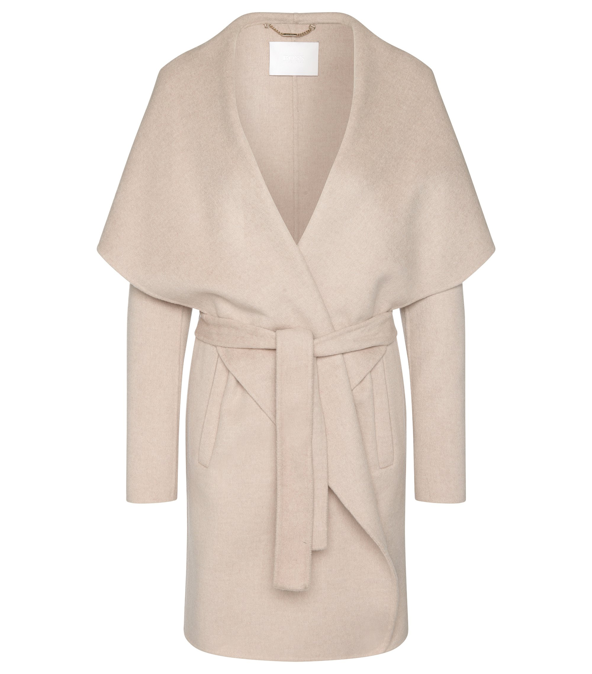 Coat in pure new wool with wide shawl collar: 'Catifa', Light Beige