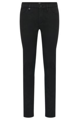 Jeans Slim Fit en coton extensible, pourvu d'empiècements contrastants : « Charleston3-1 », Noir