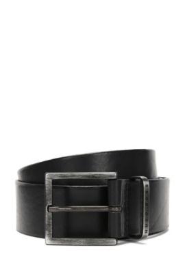 Ceinture en cuir confectionnée à la main: «Scott_Sz40_ltpl», Noir