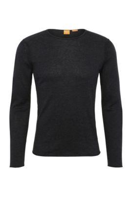 Pullover slim fit in maglia di cotone: 'Kwamero', Nero