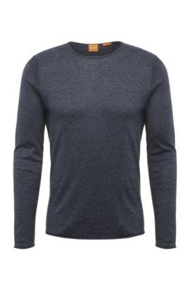 Pullover slim fit in maglia di cotone: 'Kwamero', Blu scuro