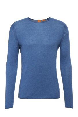 Gebreide slim-fit trui van katoen: 'Kwamero', Lichtblauw