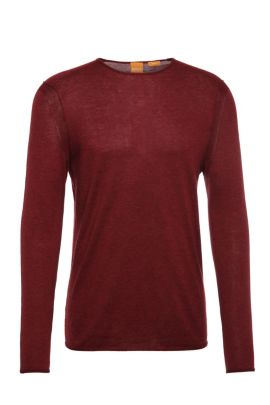 Jersey de punto slim fit en algodón: 'Kwamero', Rojo