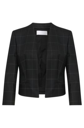 Cropped blazer in a new-wool blend with open front: 'Jianne', Patterned