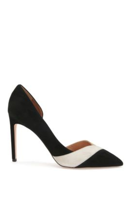 Leather pumps in tricolour design: 'Leaves Pump 100-S', Black