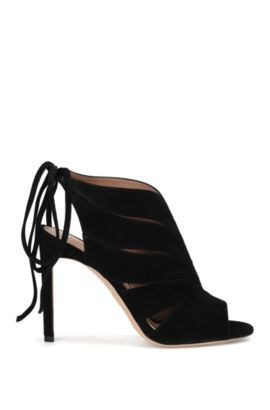 Suede high-front pumps with lacing at the back: 'Leaves Bootie 100-S', Black