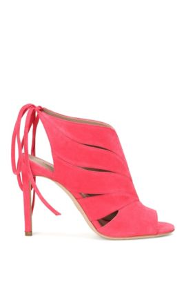 Suede high-front pumps with lacing at the back: 'Leaves Bootie 100-S', Pink