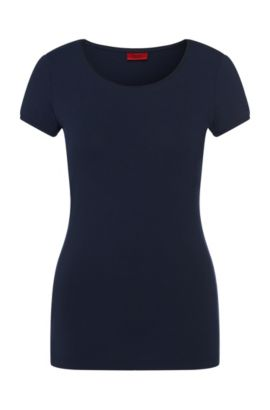 T-shirt uni en viscose stretch : « Dabena », Bleu vif
