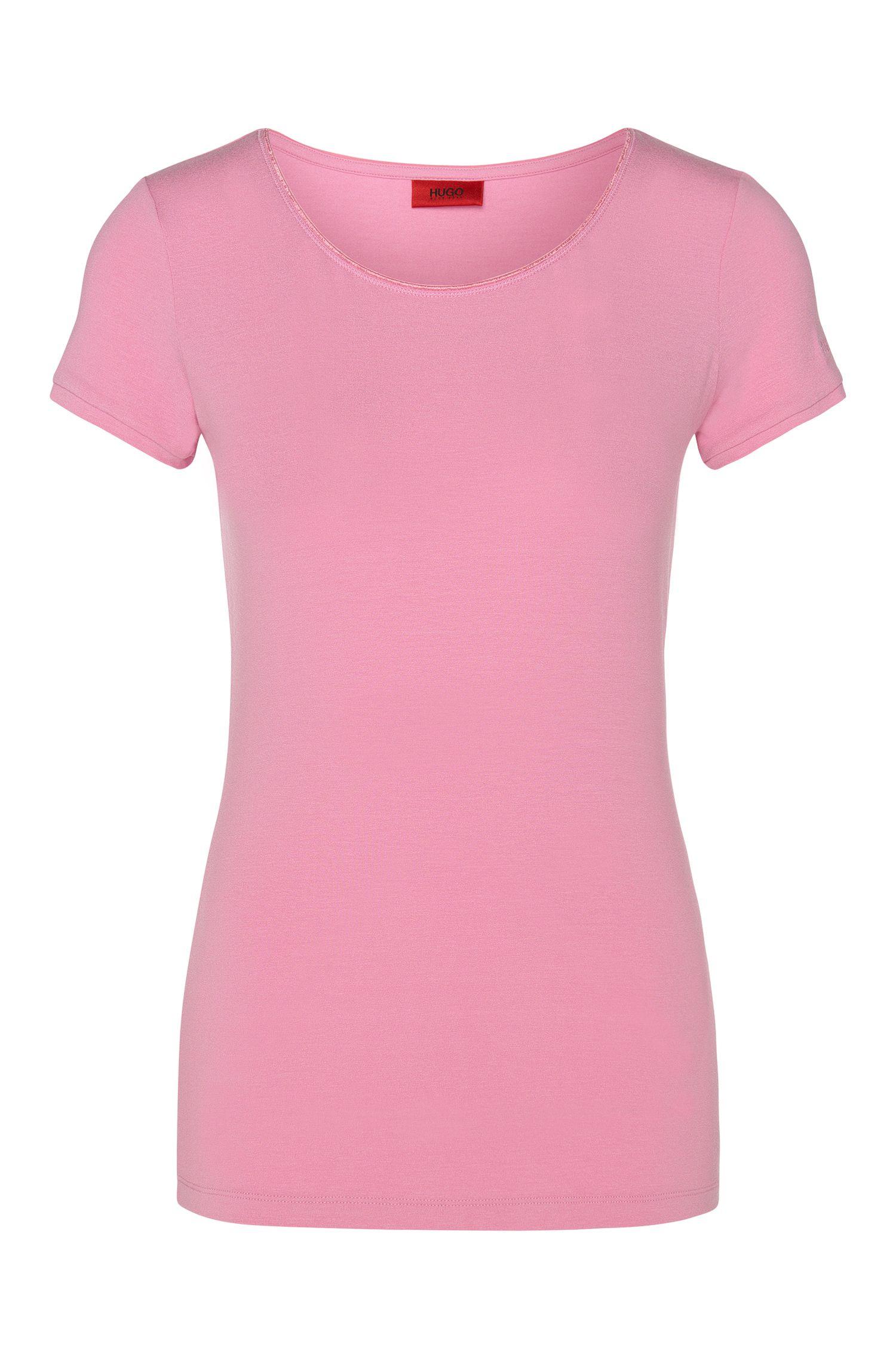 Plain t-shirt in stretch viscose: 'Dabena'