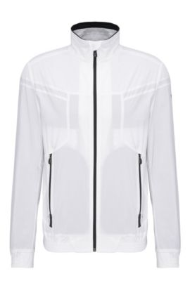 Regular-fit bomber jacket in a lightweight fabric blend: 'Jalomo 3', White