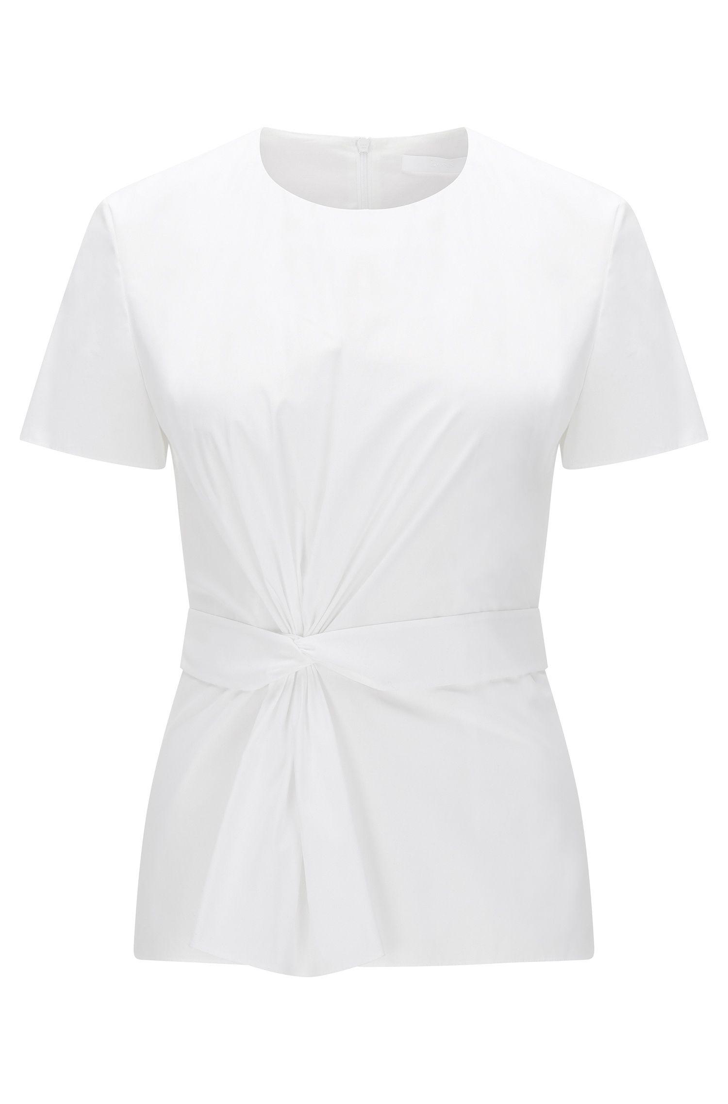 Kurzarm-Top aus Stretch-Baumwolle mit Raff-Detail: 'Igiana'