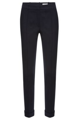 Regular-fit pleat-front trousers in stretch cotton: 'Acrila', Dark Blue
