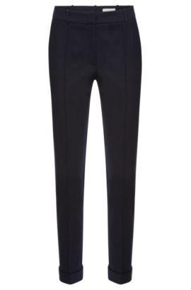 Pantalón de pinzas regular fit en algodón elástico: 'Acrila', Azul oscuro