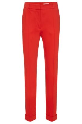 Regular-fit pleat-front trousers in stretch cotton: 'Acrila', Red