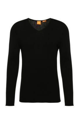Slim-fit sweater in cotton blend with new wool: 'Kameross', Black