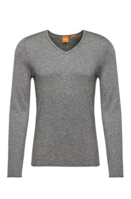 Slim-fit sweater in cotton blend with new wool: 'Kameross', Light Grey