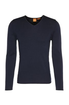 Slim-fit sweater in cotton blend with new wool: 'Kameross', Dark Blue