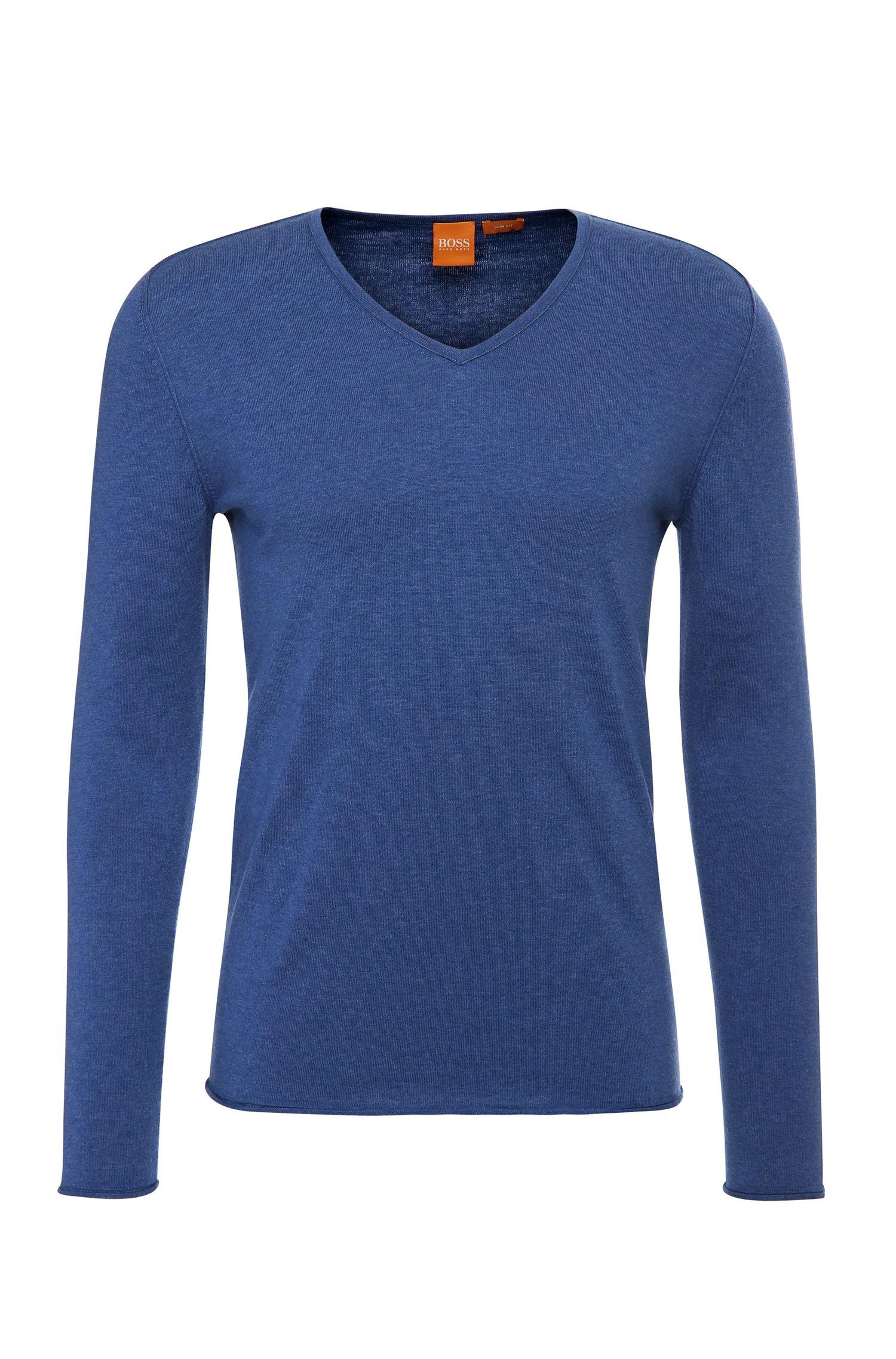 Maglione slim fit in misto cotone con lana vergine: 'Kameross'
