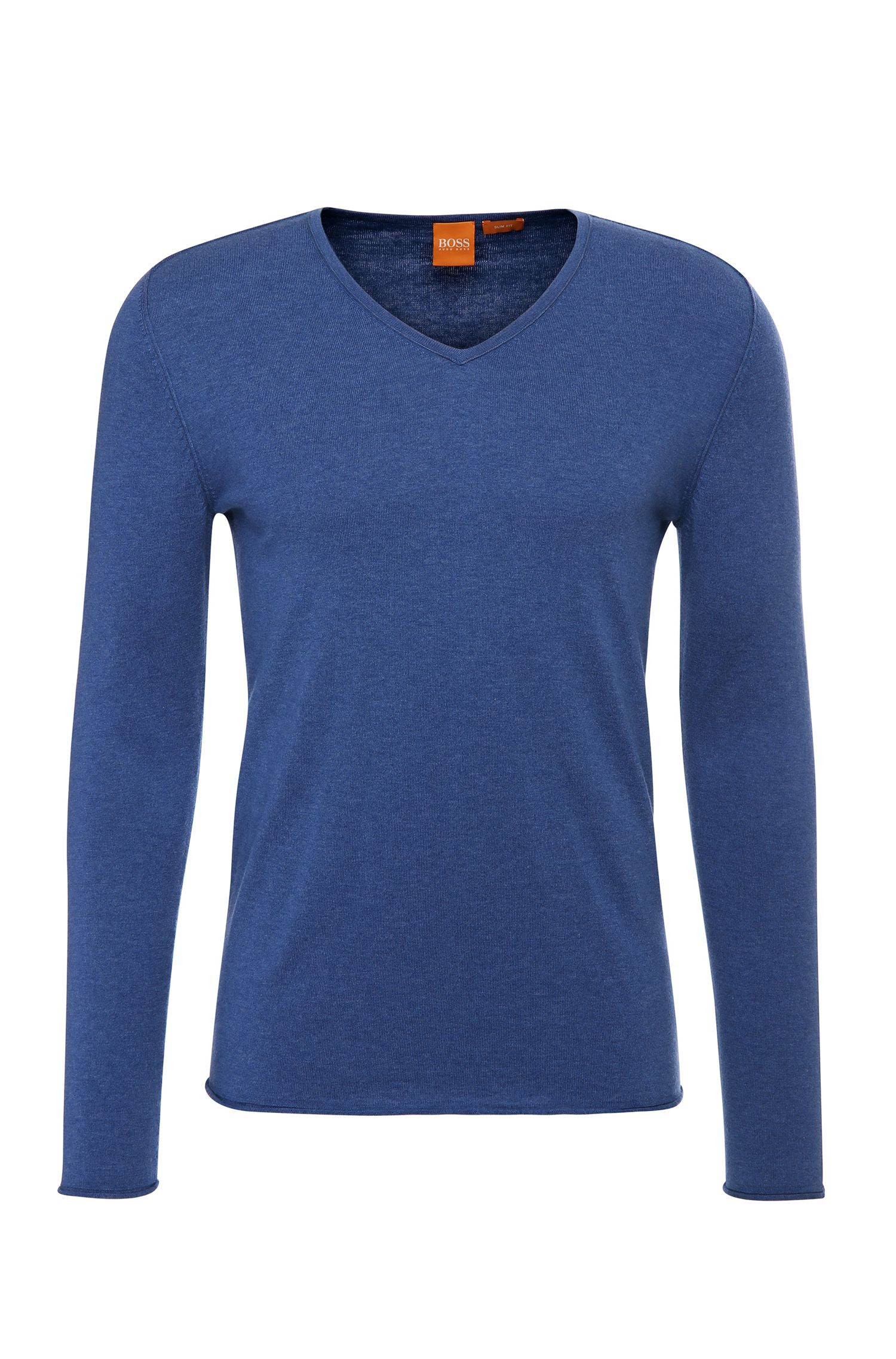 Slim-fit sweater in cotton blend with new wool: 'Kameross'