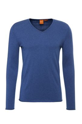Slim-fit sweater in cotton blend with new wool: 'Kameross', Open Blue