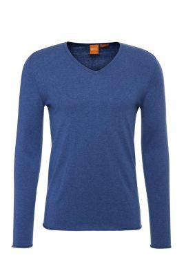 Slim-fit trui van een katoenmix met scheerwol: 'Kameross', Lichtblauw