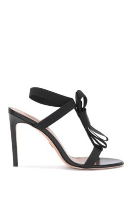 Leather high heels with elastic straps: 'Bow Tie Sandal', Black