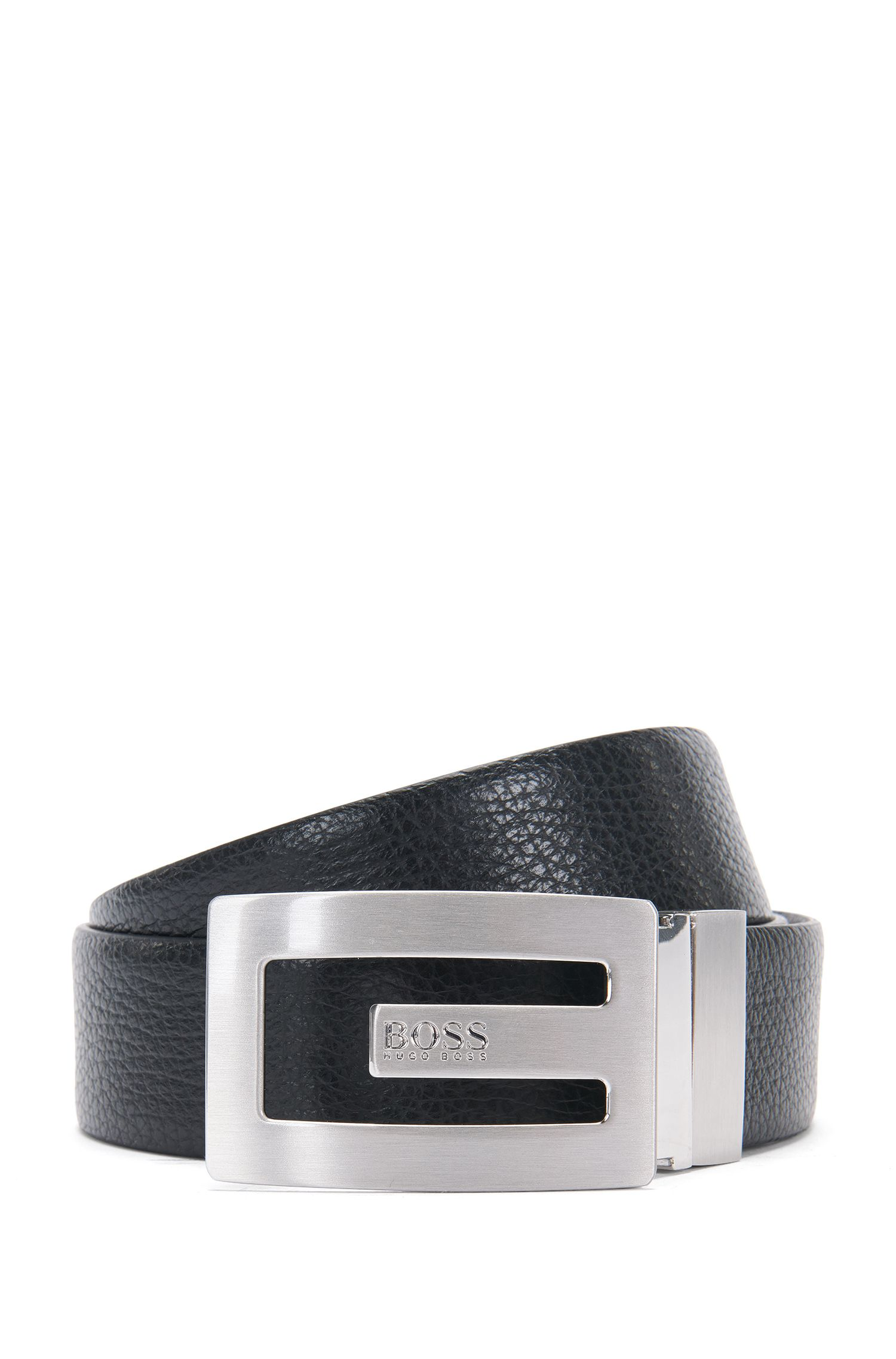 Reversible leather belt with distinctive clamping buckle: 'Ranny_Sr35_ltgr'